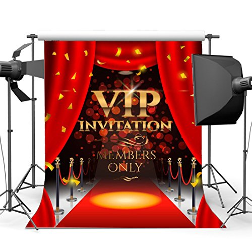 Gladbuy Vinyl 3X5FT Vip Invitation Backdrop Hollywood Backdrops Luxurious Stage Red Carpet Curtain Falling Golden Banner Bokeh Sequins Interior Photography Background for Photo Studio Props KX756 -