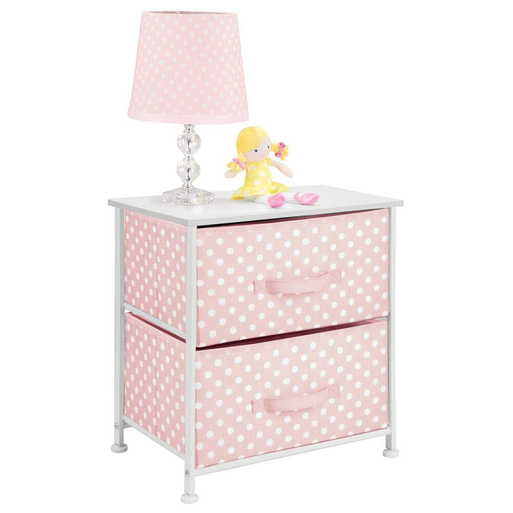 mDesign Vertical Dresser Storage Table Tower - Sturdy Steel, Wood Top, Easy Pull Fabric Bins - Organizer Unit for Child/Kids Bedroom or Nursery - Polka Dot Print - 2 Drawers - Pink/White by mDesign