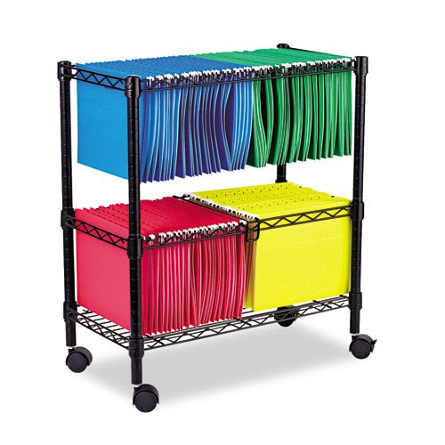 Two-Tier Rolling File Cart, 26w x14d x 29-1 2h, Black, Sold as 1 Each