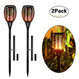 Solar Torch LightsBalight Dancing Flame Lighting 96 LED Flickering Tiki Torches Waterproof Wireless Outdoor Light for Patio Garden Path Yard Wedding Party (Black - 2 Pieces)