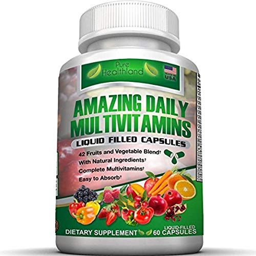 Liquid Filled Multivitamin Supplement Capsules for Men Women with 42 Fruits Vegetables Blend, 21 Essential Vitamins…
