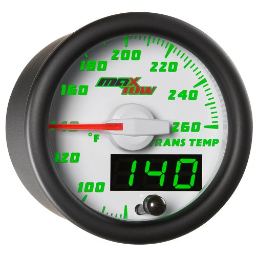 MaxTow Double Vision 260 F Transmission Temperature Gauge Kit - Includes Electronic Sensor - White Gauge Face - Green LED Illuminated Dial - Analog & Digital Readouts - For Trucks - 2-1/16