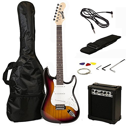 - RockJam 6 ST Style Electric Guitar Super Pack with Amp, Gig Bag, Strings, Strap, Picks, Sunburst (RJEG02-SK-SB)