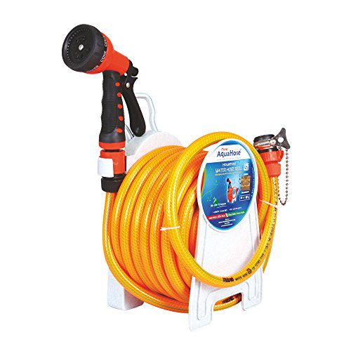 AquaHose Household Water Hose Reel   Fixed Type  Orange  7.5mtr ISI Marked Hose  with Tap Adapter with Easy to use Butterfly Clamp  amp; Bead Chain to