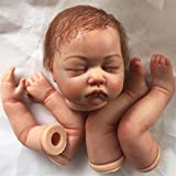 Pursue Baby Authentic Painted Reborn Baby Doll Kits with Hand-Rooted Mohair, 22 Inch Closed Eyes Soft Vinyl Realistic Doll Mold for Artists