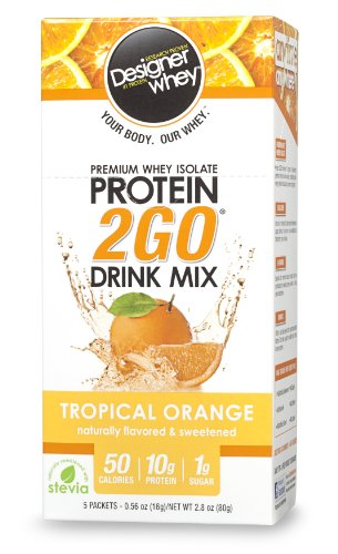 Designer Whey Protein 2Go Drink Mix, Tropical Orange, 5 à 0,56 paquets de once, (Pack de 2)