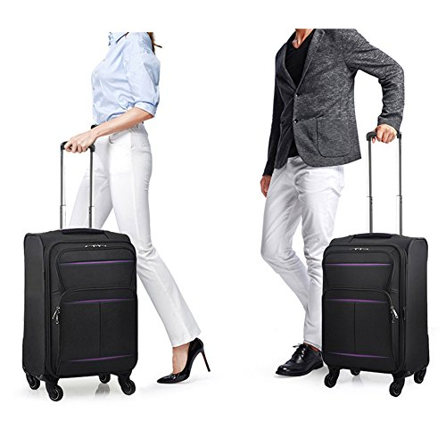 Luggage Set Suitcase Set 3 Piece Luggage Lightweight Soft Shell with 4 Rolling Spinner Wheels Super Durable (20 inch, 24 inch, 28 inch) (Black & purple) by LEMOONE (Image #1)