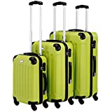 VonHaus 3-Piece Luggage Set made from ABS - Large, Medium and Carry On Suitcase with Rotating Wheels, Built-in Lock and Telescopic Handle - Green