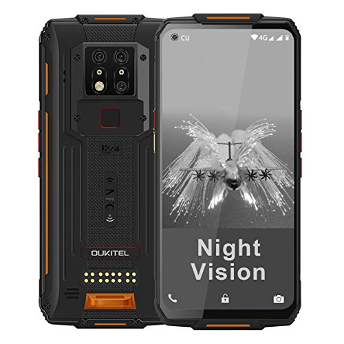 WP7 Rugged Smartphone, Night Vision Camera 8GB + 128GB Helio P90 Waterproof Unlocked Android Cell Phone 6.53 inches FHD+ Global 4G LTE Dual SIM, IP68/IP69K Triple Cameras NFC AI Cellphone (Orange)