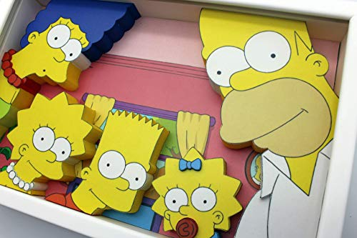 The Simpsons Family Classic Framed 3D Pop-up Art Marge Lisa Bart Maggie Homer Matt Groening Animated Home Decor One of A Kind Collectible Gift ()