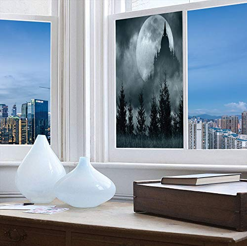 Control Heat and Anti UV Window Cling,Halloween,Reduce Heat, Glare and Block Out Harmful UV Rays,Magic Castle Silhouette Over Full Moon Night Fantasy,24''x48'' -