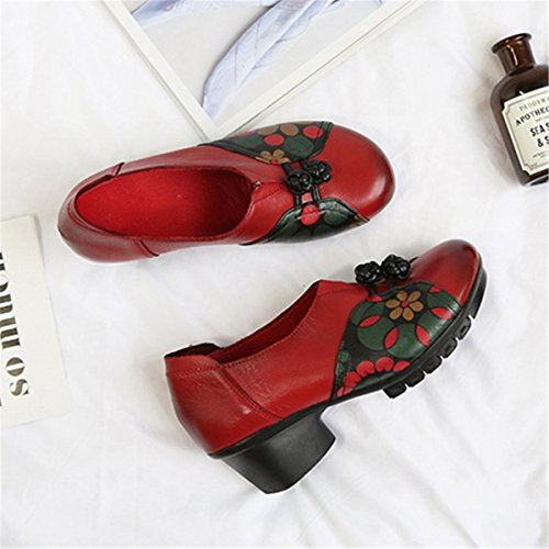 Socofy Retro Leather Shoe, Women's Mid Heel Chinese Bowknot Pattern Fashion Leather Folkways Round Head Floral Shoe Red