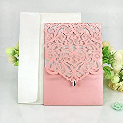 WOMHOPE 50 Pcs - Classics Vertical Wedding Invitation Hollow Laser Cut Lace Shimmer Party Invitations Cards Birthday Invitations Cards Wedding Favors (Pink)