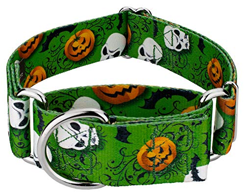 Country Brook Design - 1 1/2 Inch Ghoulish Delights Martingale Dog Collar - Extra -