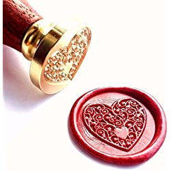 Vooseyhome The Heart Wax Seal Stamp with Rosewood Handle - Ideal for Decorating Gift Packing, Envelopes, Parcels, Invitations, Parties, Cards, Letters, Signature and Everything You Like!