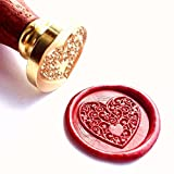 Vooseyhome The Heart Wax Seal Stamp with Rosewood Handle - Ideal for Decorating Gift Packing, Envelopes, Parcels, Invitations, Signature and Everything You Can Think and You Like!