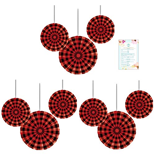 Buffalo Check Paper Fans- 9 Count (Party Planning Checklist Included) (Party Checklist Christmas Planning A)