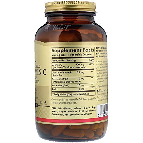 Solgar Ester-C® Plus 500 mg Vitamin C, Immune Support, Well-Retained, Gentle & Non Acidic, Non-GMO, Suitable for Vegans, 250 Vegetable Capsules by Solgar (Image #2)