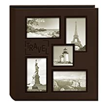 Pioneer Photo Albums Collage Frame Embossed Travel Sewn Leatherette Cover Photo Album, Brown