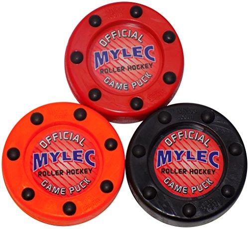 Mylec Roller Puck Variety 3 Pack Roller Hockey Pucks, Red/Orange/Black (Best Roller Hockey Puck)