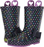Western Chief Girls' WCK Heart Parade RAIN Boot, Navy, 6 M US Toddler