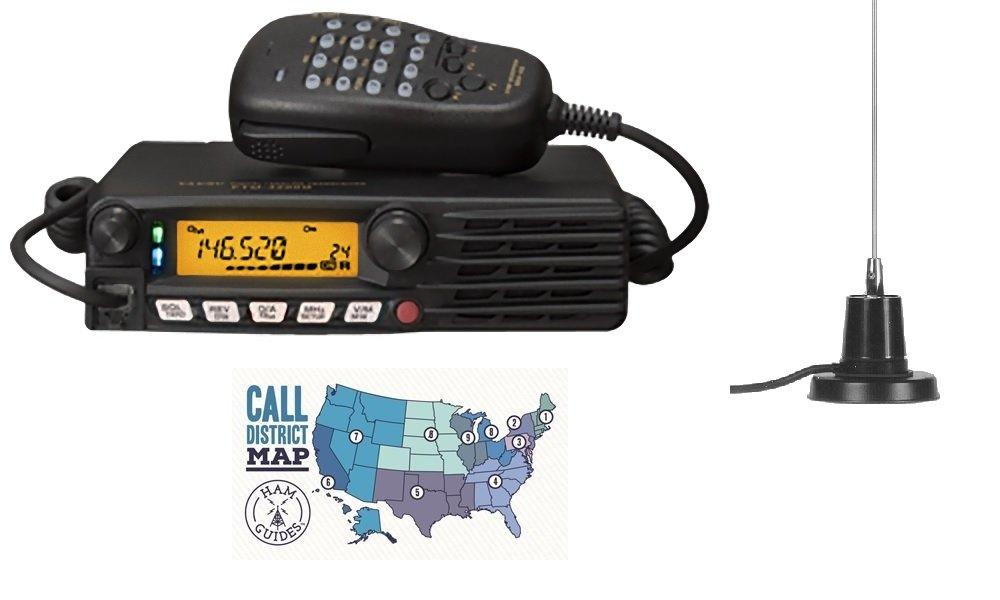Yaesu FTM-3200DR 2m C4FM Mobile Radio w/MFJ-1728B Mobile Antenna and Ham Guides TM Pocket Reference Card Bundle!