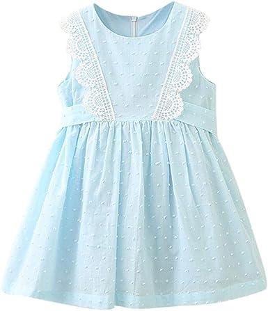 Aini Vestido De NiñA De Verano Vestido De AlgodóN Bebé Vestido De Encaje NiñA Ropa Bebe NiñA Verano Vestido NiñA Ceremonia Princesa Vestidos De Sin Manga Primavera Verano Ropa para 2-8AñOs: Amazon.es: