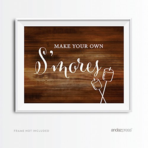 Andaz Press Wedding Party Signs, Rustic Wood Print, 8.5x11-inch, Make Your Own SMores Smore Bar Reception Dessert Table Sign, 1-Pack, Food Station Signage for Frozen Winter Parties