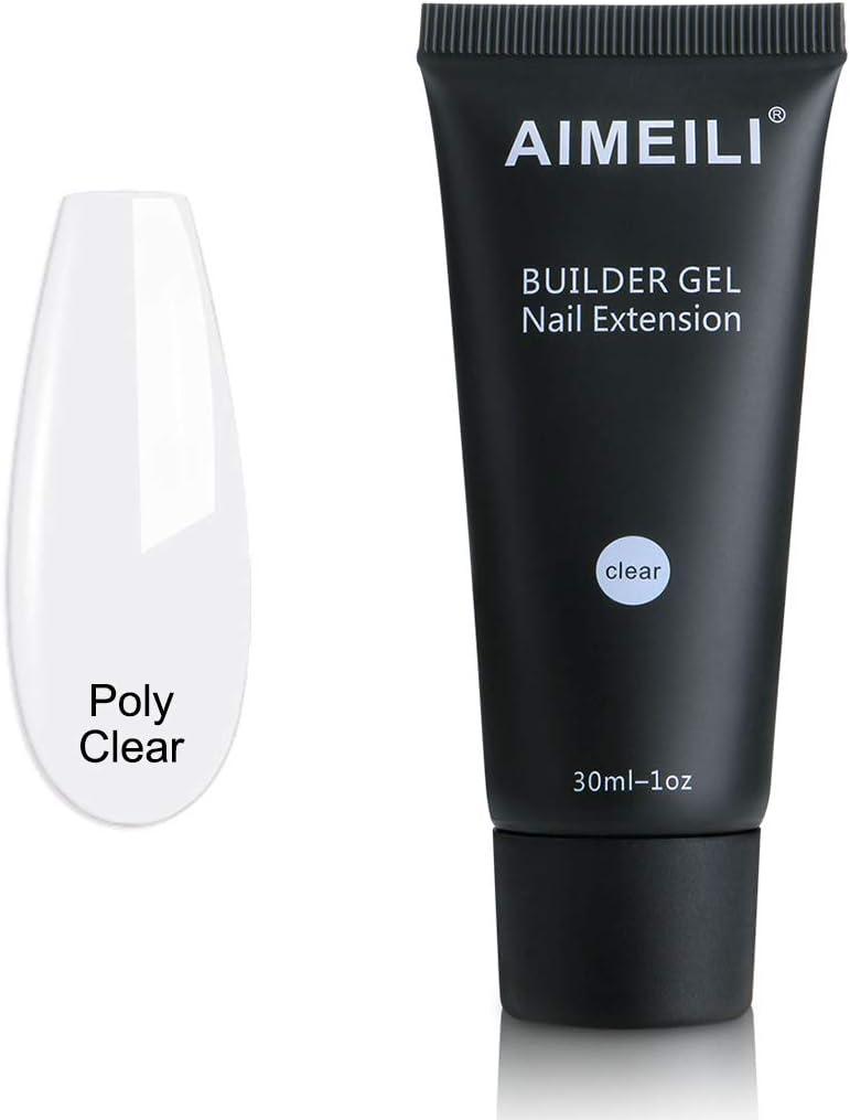 AIMEILI Polygel Uñas Builder Gel Nail Extensión Esmaltes Semipermanentes de Uñas Gel Construcción Consejos para uñas Rápida Molde Finger UV LED - Trasparente (30ml 1oz)