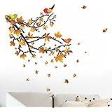 Decals Design 'Autumn Leaves and Birds' Wall Sticker (PVC Vinyl, 50 cm x 70 cm)