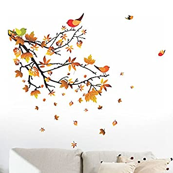 Buy Decals Design Autumn Leaves and Birds Wall Sticker PVC