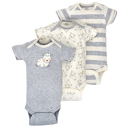 Baby Three Pack Bodysuits (Gerber Baby Infant 3 Pack Organic Short Sleeve Onesies Brand Bodysuit, Gray/Ivory, 3-6 Months)