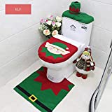 G&T HBGY-2 Christmas Decoration Toilet Set Snowman Santa Toilet Seat Cover and Rug Set Red Christmas Decorations Bathroom