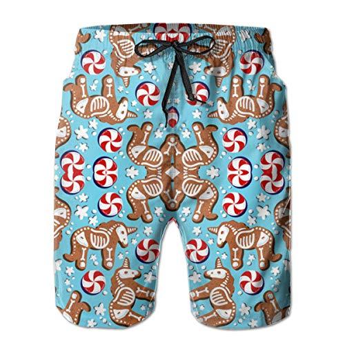 Klnsha7 Unicorn Gingerbread Wallpaper (16214) Beach Shorts Pants,Mens Sports Breathable Fashion Pants Summer Fitness Running ()