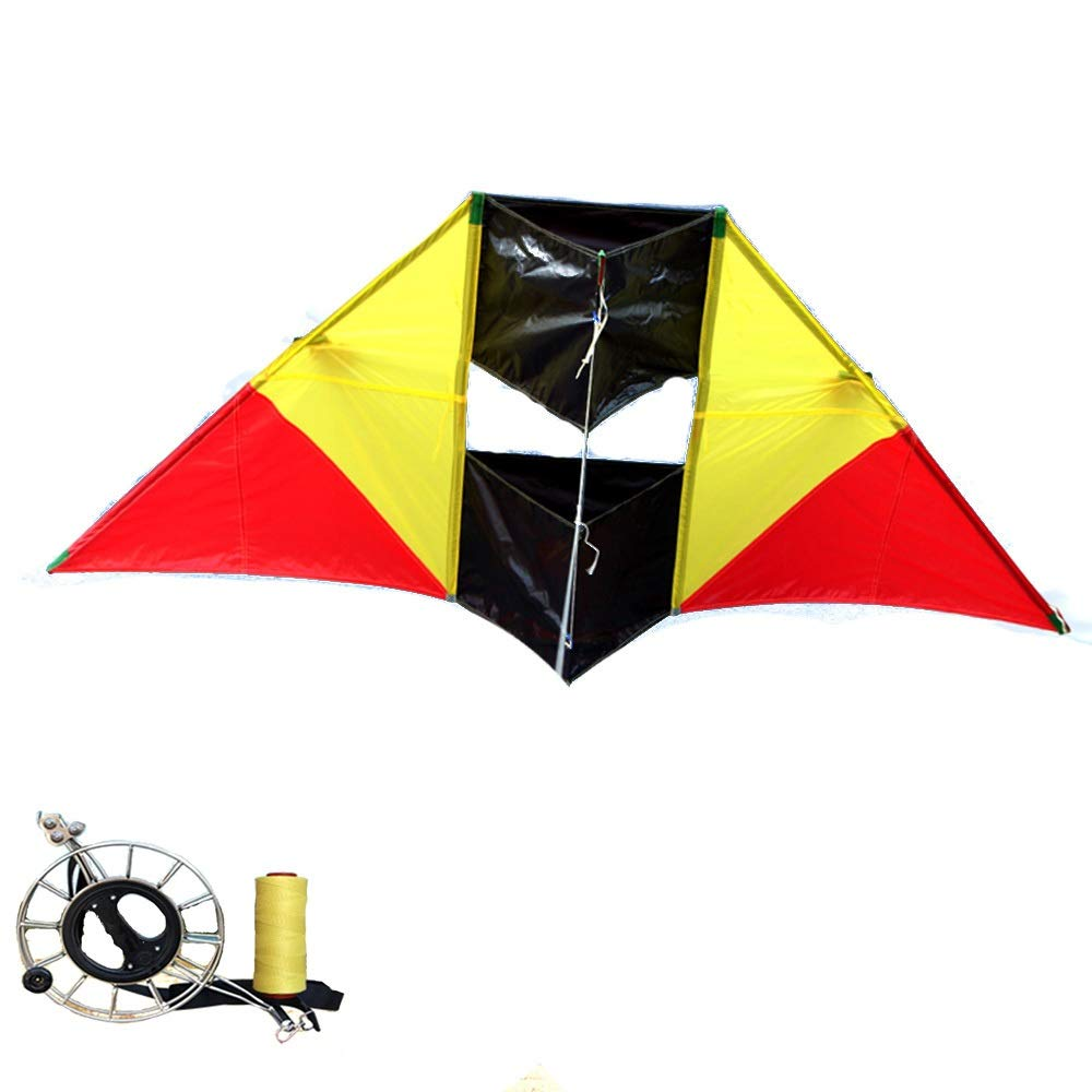 Kite,Flying Spring Toy Adult Soft Umbrella Cloth, Three-Dimensional Triangular Kite, Stainless Steel Reel, Easy to Fly Kite line Wheel Puller Multi-Style Optional (Color : E) by Kite Products