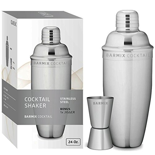 Barmix Martini Cocktail Shaker 24 Ounces, Stainless Steel, Jigger Included