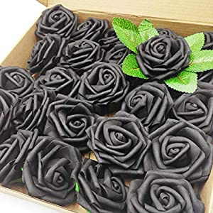 yuzi-n 25PCS Real Touch Artificial Roses Fake Flowers Decoration DIY for Wedding Bridesmaid Bridal Bouquets Centerpieces, Baby Shower Party Home Decorations (Black) 74
