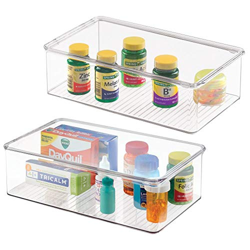 mDesign Stackable Plastic Storage Bin Box with Hinged Lid - Organizer for Vitamins, Supplements, Serums, Essential Oils, Medicine Pill Bottles, Adhesive Bandages, First Aid Supplies - 2 Pack - Clear