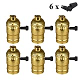 Vintage Lamp Socket, Metal Shell E26 E27 Incandescent Lamp Holder, Retro Pendant Light Socket with Removable Turn Knob Switch,6 pack