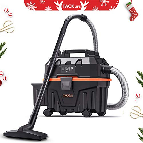 TACKLIFE Advanced Wet Dry Vacuum, 1200W Pure Copper Motor, 120V 4.5Gal Capacity 16.4ft Wire 5ft Hose, Multiple Accessories, Wet/Dry/Blowing 3 in 1 Function, Suitable for Indoor and Outdoor HXPVC01B
