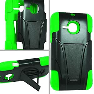 Black Green Hard Soft Hybrid Cover Case for Alcatel One Touch Evolve 5020T L4L8