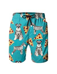 GAMSJM Schnauzers Dog Pizzas Men's Beach Pants Jogger Drawstrintg Elastic Swim Trunks