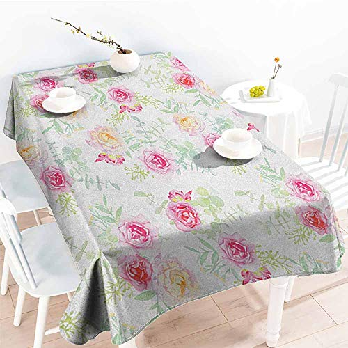 familytaste Watercolor Flower,Table Cover Home Decoration Soft Colored Roses Vintage Old Style Retro Painting Spring Garden 70