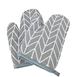 GAXmi Oven Mitts Heat Resistant Oven Gloves for Cooking Baking Kitchen Terry Pot Holder Quilted Cotton Lining for Extra Protection Soft and Washable 1 Pair-GRAY