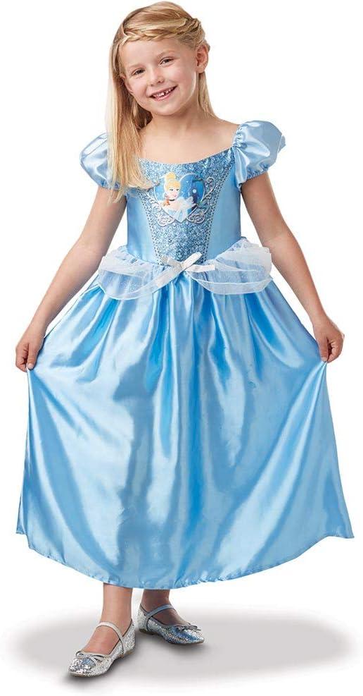 Princesas Disney - Disfraz de Cenicienta con lentejuelas para niña, infantil 5-6 años (Rubie's 641020-M)
