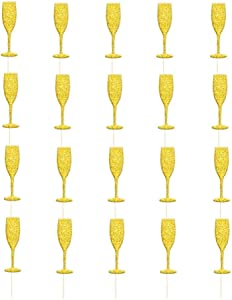 20PCS Wine Glass Cupcake Toppers Glitter Cake Picks Cupcake Picks Toppers Happy New Year Christmas Holiday Cake Food Picker - Golden