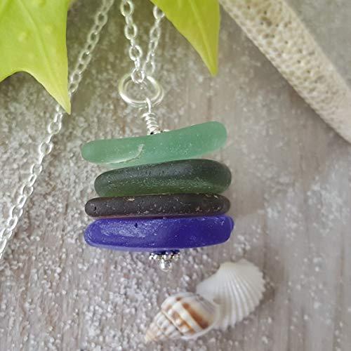 Genuine surf tumbled sea glass, handmade in Hawaii, quad stack beach sea glass necklace jewelry. sea glass jewelry