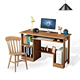 DL furniture- Office and home Computer desk writing table with shelf rack storage, bookshelves Host support--nature wood