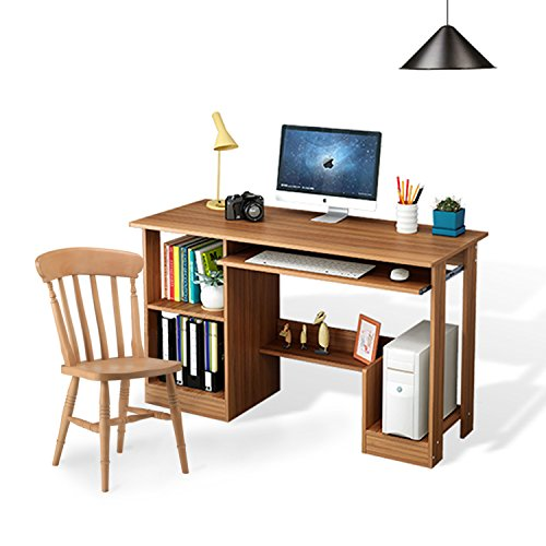 DL furniture- Office and home Computer desk writing table with shelf rack storage, bookshelves Host support--nature wood by DL-Furniture