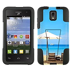 Alcatel OneTouch Pop Star Hybrid Case Beach Umbrella View 2 Piece Style Silicone Case Cover with Stand for Alcatel OneTouch Pop Star